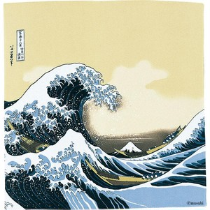 【Furoshiki】68 Ukiyo-e Rayon Chirimen Yuzen Dyeing | Under The Wave Off Kanagawa Beige 【風呂敷】二巾浮世絵ちりめん友禅 波裏に富士
