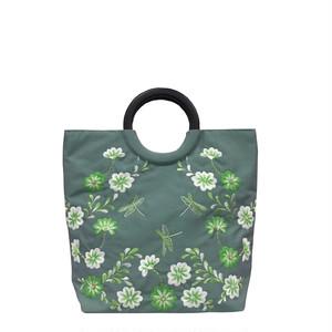 ベトナムバッグ シルク 両面刺繍 ビーズ ハンドバッグ 手提げ 鞄 ベトナム雑貨