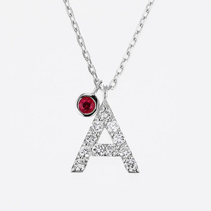 Initial K18WG Diamond【A】Pendant Necklace with Charm (ダイヤモンド イニシャル【A】ペンダントネックレス チャーム付き)