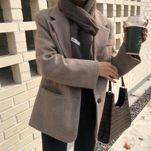 【送料無料】アウター テーラードジャケット ジャケット 防寒 秋冬 シンプル ベーシック ブラウン ホワイト