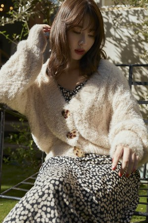Fuzzy Cable Knit Cardigan