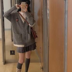 【アウター】ファッション学園風Vネックゆったりニットカーディガン