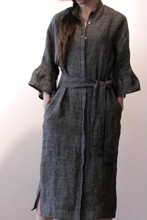 Ramette    シャツドレス・アンブレラスリーブ  (Herringbone/Linen)