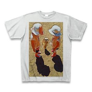 少女と犬(ブリュッセルグリフォン)クルーネックTシャツ アッシュ