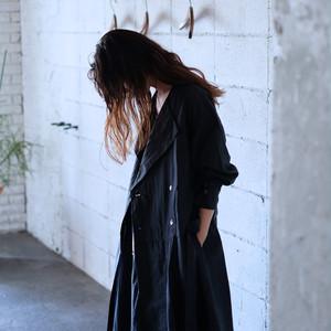 No collar dress coat  [ Black ]