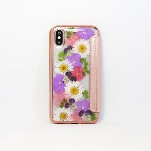 【手帳型:X/XS対応】押し花 iPhone case