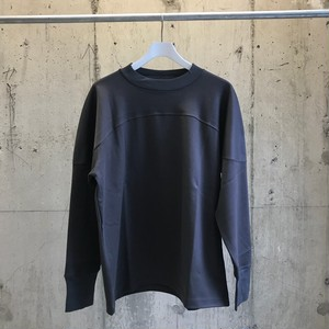meanswhile GIZA Cotton Round Yoke L/S Tee/CHARCOAL