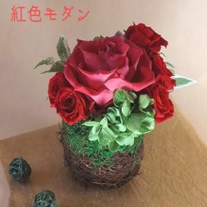 紅色の薔薇で作る和の香りのする和風モダンアレンジ