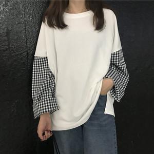 【トップス】切り替え長袖ラウンドネックTシャツ