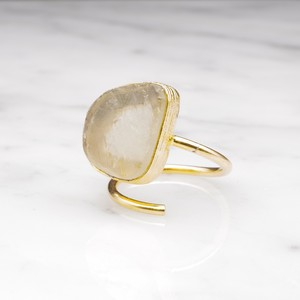ROUGH BIG STONE RING GOLD 003