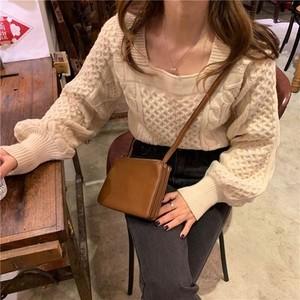 〈Ranking No.8〉スクエアネックニットセーター【square neck knit sweater】