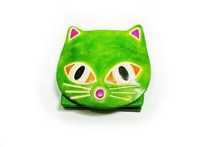 小銭入れミニポーチ 猫パース ネコ黄緑 ヤンピー インドレザー