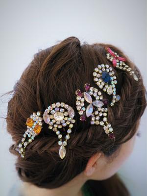 ヴィンテージビジューヘアピン vintage hair pin bijou <HP-RB・I-M>