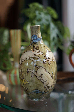 Antique Bottle Vase Glazed
