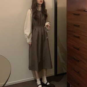 【❤セット】無地プルオーバーTシャツ+カジュアルロング丈ワンピース25123115