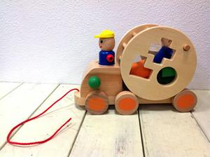 木製 ウッデントイ パズルトラック 木のおもちゃ