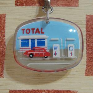 フランス TOLTA[トタル]石油会社広告ガソリンスタンド 動く車 ブルボンキーホルダー/モバイルタイプ