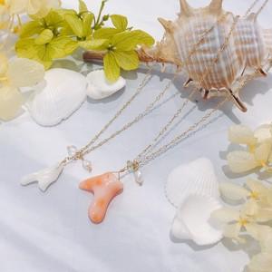 【CORALIA】ビーチ 003 ネックレス 白珊瑚 ピンク珊瑚 枝珊瑚 K10