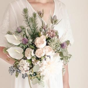 Dahlia&Rose Bouquet&Boutonniere