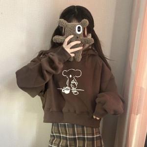 【セットアップ】韓国系スウィートカートゥーンフード付きパーカー+ファッションショート丈チェック柄Aラインスカート