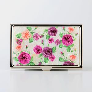 天然貝 名刺カードケース(ロマンティックローズ)<螺鈿アート>