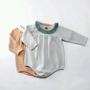 フリル襟 ニットロンパース 韓国子供服