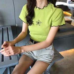 袖&ネックフリル 半袖Tシャツ