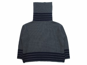 LONG MOCK NECK SWEATER  GRAY×NAVY  18AW-FS-20