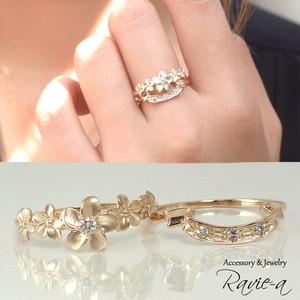 ハワイアンジュエリー ダイヤモンド  クール お花 リング 指輪 K10 イエローゴールド フラワー&リボン セットリング 2本セット