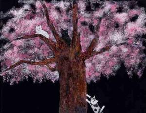 田中 千智「夜桜とねこ」