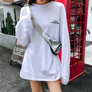 【トップス】韓国風ルーズカジュアル長袖Tシャツ