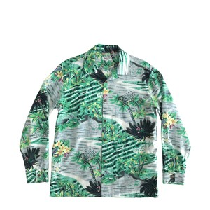 Mountain Men's オープン長袖アロハシャツ /  Palm tree  /  size L