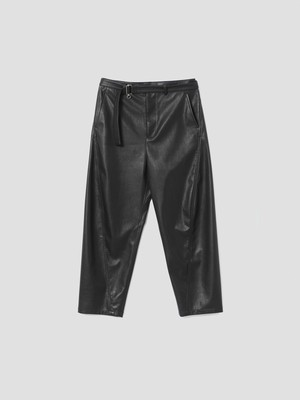 VEIN SYNTHETIC LEATHER BELTED BALLOON TROUSERS Black VP12-309