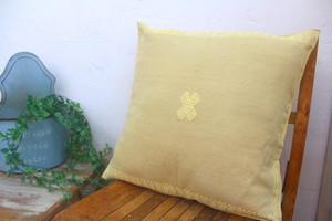 手織り 織物クッションカバー/ララインサール村 ベージュ×クリーム