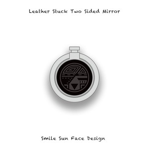 Leather Stuck Smartphone Ring / Smile Sun Face Skull Design 004