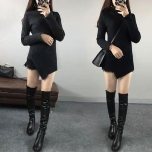 アシンメトリー デザインセーター 2色 ブラック ダークグレー 長袖 ハイネック レディーストップス ニット 無地 カッコいい クール