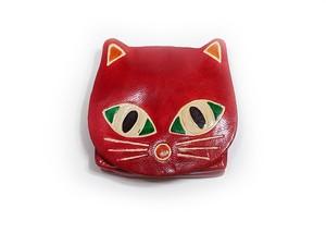 小銭入れミニポーチ 猫パース ネコ赤 ヤンピー インドレザー