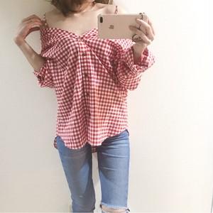 大人可愛い ギンガムチェックスキッパーシャツ