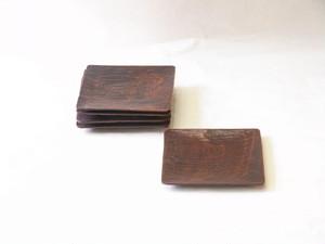山中塗 ノミ彫り 木製 角皿 5枚組