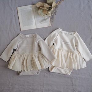 monbebe.切りっぱなしsweatチュチュロンパース[baby60-80]