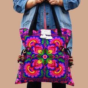 モン族 刺繍ボヘミアントートバッグ レディース ファッション 通販