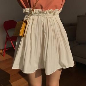【ボトムス】ハイウエストフリルウエストゴム入りゆったり合わせやすいAラインスカート