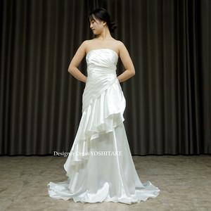 挙式用マーメイド風スレンダー白ドレス(サテン)フォト婚/レストランウエディング