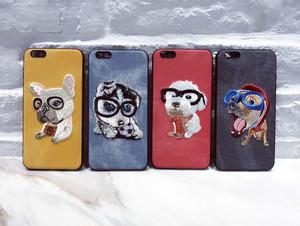 iPhoneケース わんちゃん プリント 犬 刺繍