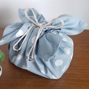 Lサイズ お弁当袋になっちゃう!!ランチクロス☆ドットブルー(50cm×50cm)