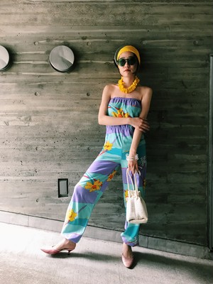 60s floral jumpsuits ( ヴィンテージ 花柄 オールインワン )