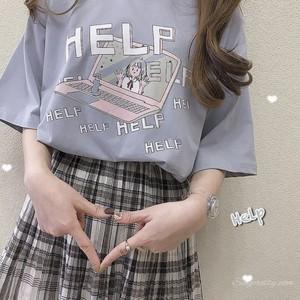 【トップス】カートゥーンプリント春夏スウィートキュートカジュアルガーリー半袖Tシャツ