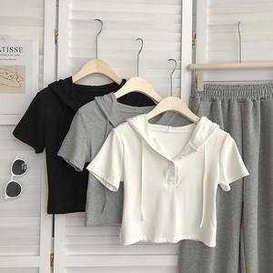 【トップス】韓国系半袖フード付きプルオーバーショート丈Tシャツ45265598