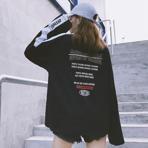 【トップス】ストリート系ラウンドネックコットン膝上Tシャツ
