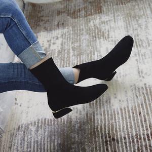 ショートブーツ ブーティー マーティンブーツ レディース ミドルヒール 太ヒール  シューズ  靴  大きいサイズ 黒7132